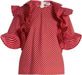MSGM Ruffle-trimmed striped cotton top