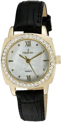 Peugeot Women Gold Crystal Bezel Round Black Leather Strap Watch