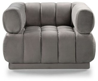 Everly Quinn Sina Club Chair Fabric: Gray Velvet