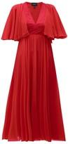 Giambattista Valli Butterfly-sleeve Silk-chiffon Midi Dress - Womens - Red