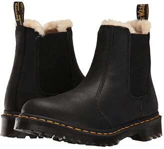 Dr. Martens Leonore (Black Burnished Wyoming) Women's Pull-on Boots
