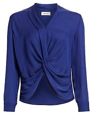 L'Agence Women's Mariposa Plunge Silk Blouse