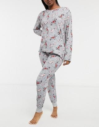Chelsea Peers eco poly check print dachshund long pyjama set in grey