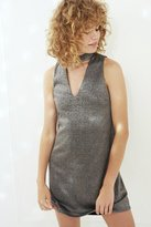 Silence & Noise Silence + Noise Shimmer Cutout Mock Neck Mini Dress