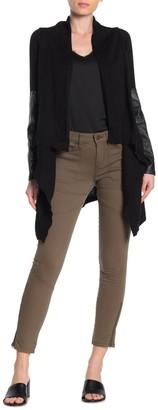 Blanknyc Denim Faux Leather Trim Shawl Collar Knit Jacket