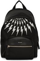 Neil Barrett Black and White Thunderbolt Day Backpack