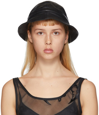 Marine Serre Black Regenerated Leather Bucket Hat