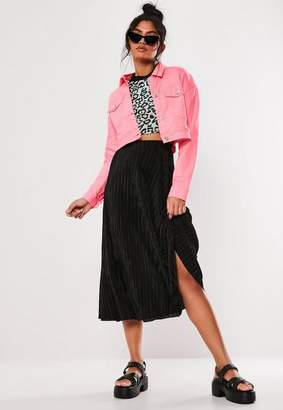 Missguided Black Plisse A Line Midi Skirt