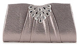 Kate Landry Pleated Metallic Brooch Clutch
