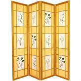 Oriental Furniture Unique Home Decor 6-Feet Herbal Floral Folding Shoji Privacy Floor Screen Room Divider