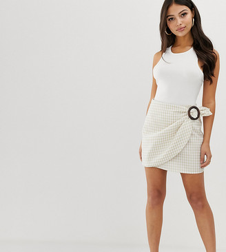 Fashion Union Petite wrap mini skirt with wooden buckle in gingham