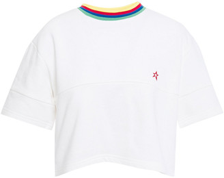 Perfect Moment Cropped Embroidered French Cotton-terry T-shirt