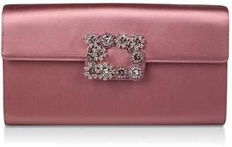 Roger Vivier Satin Strass Buckle Envelope Clutch Bag