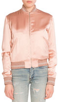 Saint Laurent Love-Patch Satin Bomber Jacket, Light Pink