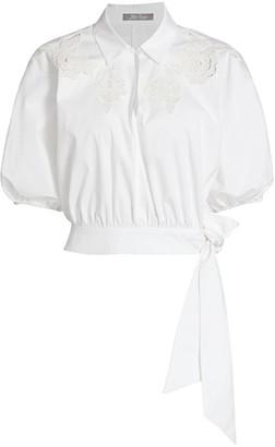 Lela Rose Pointelle Floral Poplin Tie-Hem Top