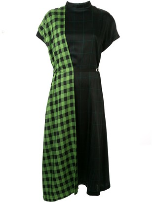 Toga check-print contrast dress