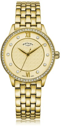Rotary EXCLUSIVE Textured Champagne Swarovski Set Dial Gold Stainless Steel Bracelet Ladies Watch