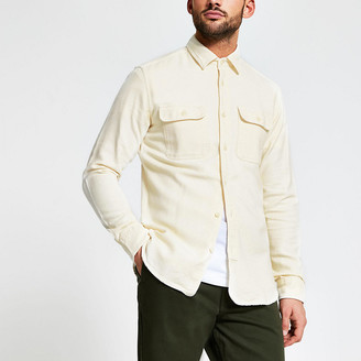 River Island Selected Homme cream pocket front shirt