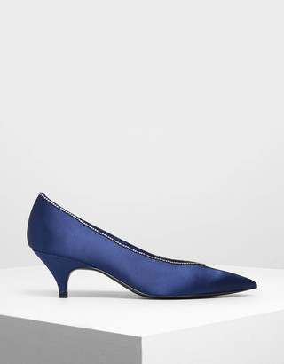 Charles & KeithCharles & Keith Gem Embellished Satin Kitten Heel Court Shoes