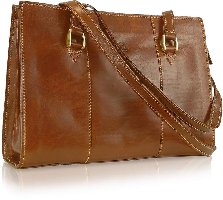 Chiarugi Handmade Brown Genuine Italian Leather Zip Satchel Bag