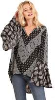 Umgee USA Umgee Women's Bell Sleeve Printed Blouse Split Mock Neck and Tie Tops G0506 (S, )
