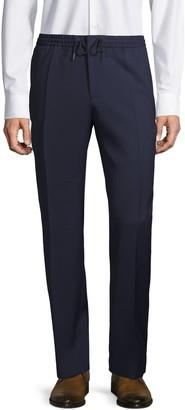 HUGO BOSS Virgin-Wool Blend Check Flat-Front Pants