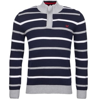 Crew Clothing Mens Stripe Funnel Neck Sweat Navy/Grey/White