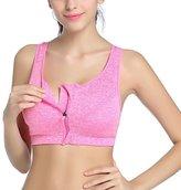 ClothingLoves No Rims Sports Underwear Bra Vest Shockproof Running Front Zipper