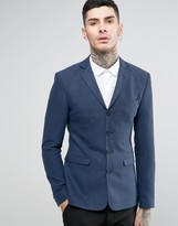 Asos Super Skinny Blazer With Four Buttons In Navy