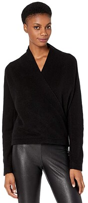Vince Wrap Front Pullover (Black) Women's Clothing