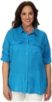 Calvin Klein Plus Plus Size Knit Insert w/ Roll Sleeve Top