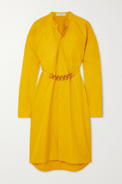 Thumbnail for your product : Givenchy Chain-embellished Cotton-poplin Shirt Dress - Yellow