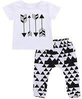 BiggerStore 2Pcs Toddler Baby Boys Outfits Set, Summer Arrow T-shirt Tops+Harem Pants (12-18 Months, )