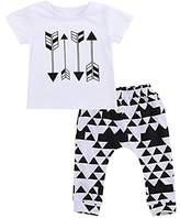 BiggerStore 2Pcs Toddler Baby Boys Outfits Set, Summer Arrow T-shirt Tops+Harem Pants (6-12 Months, )