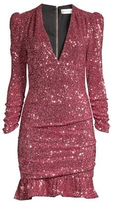 Rebecca Vallance Mona Ruched Sequin Sheath Dress