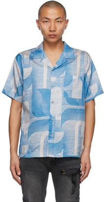 Double Rainbouu Blue and Beige Wall Flower Short Sleeve Shirt