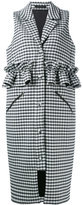 Mother of Pearl checked ruffle-trimmed gilet