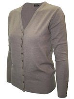 2LUV Women's Long Sleeve V-Neck Button Up Cardigan L (SW205)