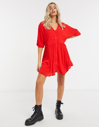 In The Style x Jac Jossa v-neck trapeze mini dress in red