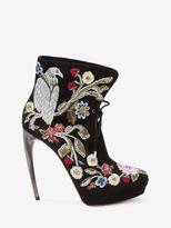 Alexander McQueen Medieval Embroidered Horn Heel Bootie