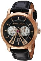 Adee Kaye Men's Automatic Stainless Steel and Leather Dress Watch, Color:Black (Model: AK8871-RGBK)