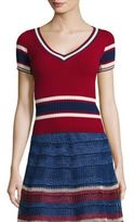RED Valentino Striped Rib-Knit Sweater