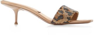 Alexander Wang Women's Jessie Leopard-Print Crystal-Embellished Leather Sandals - Animal/black - Moda Operandi