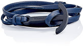 "Miansai Men's ""Modern Anchor"" On Leather Wrap Bracelet-BLACK"