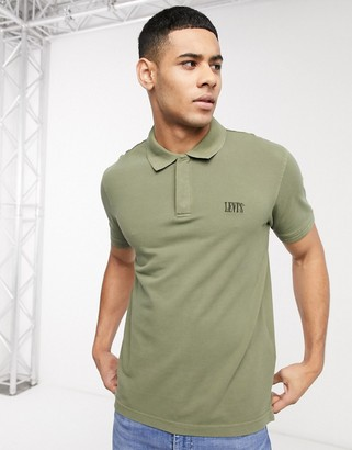 Levi's Authentic tonal batwing logo pique polo in olive night green