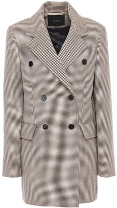 Maje Double-breasted Houndstooth Jacquard Coat