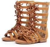 HONGTEYA Children Girls Roman Zipper Bowknot Knee-High Gladiator Sandals summer boots (7M US Toddler, )