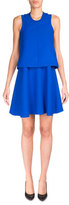 Carven Sleeveless Satin Popover Dress, Royal Blue