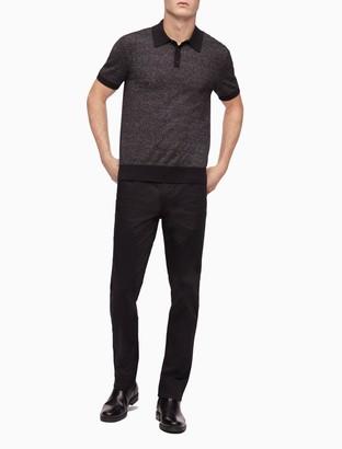Calvin Klein Striped Ribbed Knit Polo Shirt
