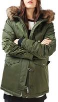 Topshop Women's Jess Parka With Faux Fur Trim